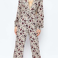 Free People Lisa Crepe Jumpsuit in Vintage Floral Print