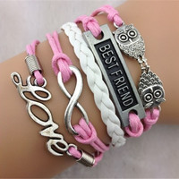 BESTFRIEND/love/owl/8 pink braids bracelet DS08800