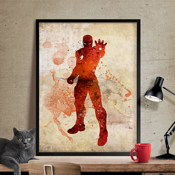 Iron Man print, superhero poster, Iron Man Poster, Marvel poster, Heroes print, Avengers poster, Wall art, Comic print, Gift for him (321)