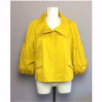 Elle Women's Blazer Cape Balloon Puff Sleeve Mustard Yellow Swing Jacket XL
