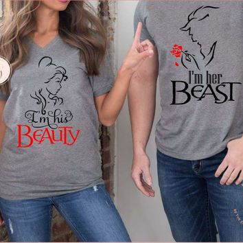 Beauty And The Beast Matching Disney Couples Shirts His Beauty Her Beast Belle