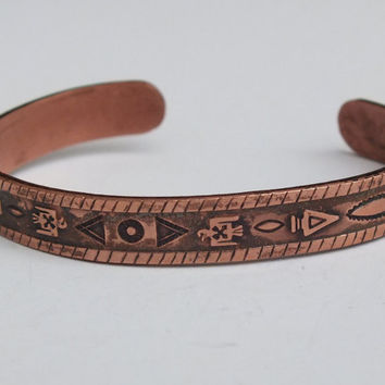 Vintage Copper Cuff Bracelet With Native American Arrows Birds And Designs Indian Southwestern Tribal Theme
