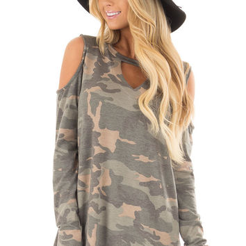 Camo Cold Shoulder Top with Chest Cutout