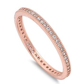 Dainty Sterling Silver Rose Gold Plated Milgrain CZ Band