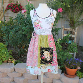 Artsy Boho Dress Eco Upcycled Unique Woman / Junior Clothing