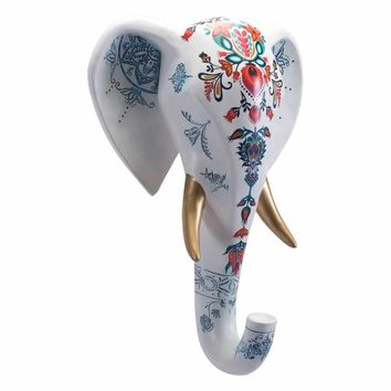 Elephant Head Wall Decor White