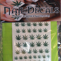 60 POT LEAVES Marijuana Nail Art - Salon Results - Waterslide Decals - Not Stickers or Vinyl