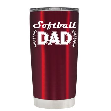 TREK Softball Dad on Translucent Red 20 oz Tumbler Cup