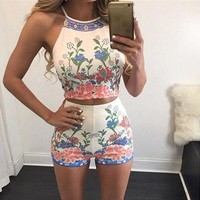 Retro Print Vest Shorts Leisure Two-Piece Suit