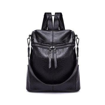 Student Backpack Children Vintage Women Solid Student Backpack Brief Elegand Style PU Leather Double Shoulder Bag Large Capacity Travel Backpacks Sac AT_49_3