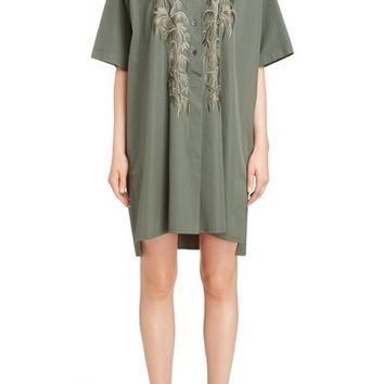 Dries Van Noten Embroidered Cotton Shirtdress | Nordstrom