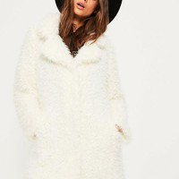 Missguided - White Shaggy Faux Fur Coat