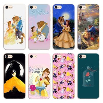 Beauty And The Beast style Transparent frame hard Phone Case Cover for Apple iPhone 6 6s 7 8 Plus 6sPlus 7Plus SE 5S