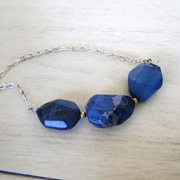 Blue Jasper Sterling Silver Necklace - Chunky Blue Jasper Nuggests on a Delicate Sterling Silver Chain