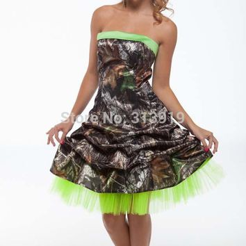 printing camouflage sweet sixteen short cocktail party dresses  2017 new styles custom make size 0 free shipping