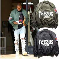 Yeezus bomber Jacket men famous star man Tide Loose Coat Ancient Baseball Take The Male Yeezus yeezy military jackets and coats