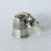 Peter Pan Antique Sterling Silver Thimble and Acorn Hidden Kisses Key Ring, Peter Pan and Wendy, Mother to Lost Boys