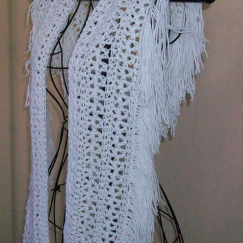 White Sparkle Scarf, Handmade Crochet with Very Soft Yarn and Fringed On Long Edge