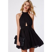 Missguided - Cia Chiffon Keyhole Puff Ball Skater Dress Black