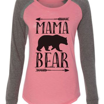 "Womens ""Mama Bear"" Long Sleeve Elbow Patch Contrast Shirt"
