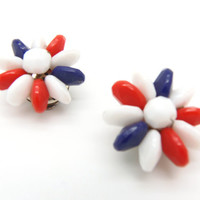 Vintage Earrings, Signed Hong Kong, Clip on Earrings, Red White and Blue Earrings, Patriotic Jewelry