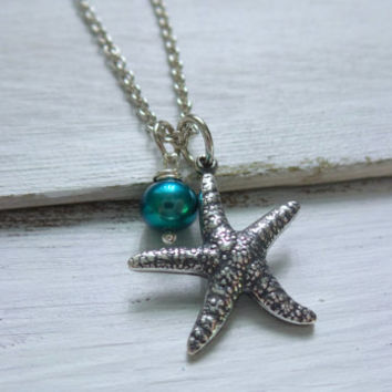 Starfish Pearl Necklace by SBC, AAA Freshwater Pearl, Teal Pearl, Silver Starfish Necklace, Starfish Pearl Necklace, Mermaid Necklace