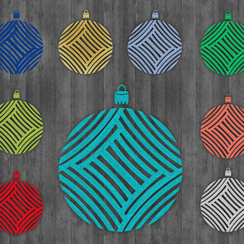 Glitter Ornaments Clip Art, metallic texture, peach, gold, green, blue, red and silver, 9 png Christmas images, Buy 2 Get 1 Free