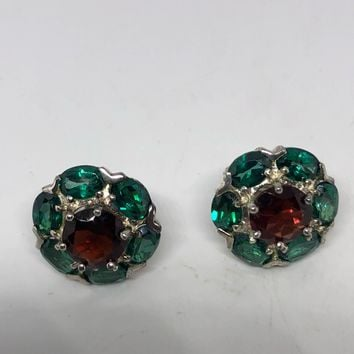 Vintage Handmade 925 Sterling Silver Green Flourite and Garnet Stud Earrings