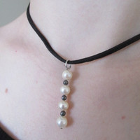 Pearl bead suede leather choker necklace pendant handmade repurposed vintage.