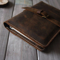 Retro iPad Air Case hand stitched Leather Portfolio, X Large Moleskine notebooks Cover Sleeve, All in one design from CPS
