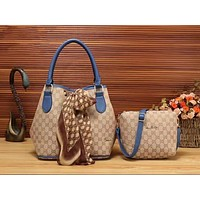 Gucci Fashion Women Popular Print Shoulder Bag Tote Handbag Set Two-Piece Blue I-LLBPFSH