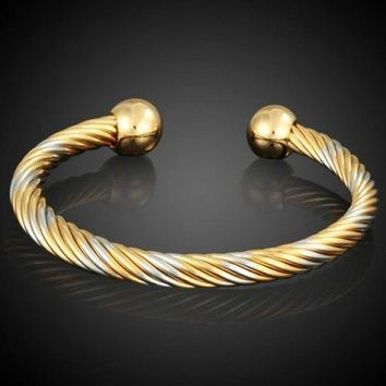 Cable Wire Cuff Bracelet - Golden