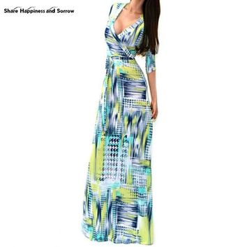 Maxi Dress Sexy Women Package Fashion V-neck Long Sleeve Printed Long Casual Dresses Vestidos