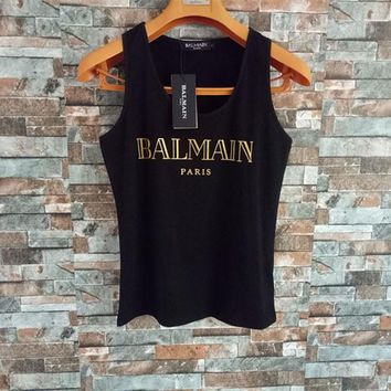 """Balmain"" Women Simple Casual Bronzing Letter Sleeveless Cotton Vest T-shirt Tops"