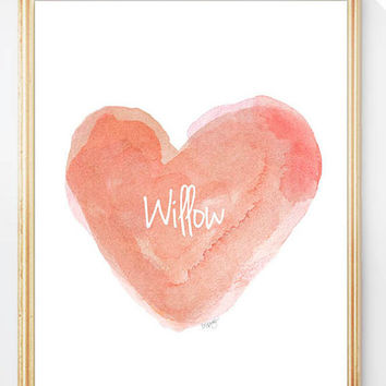Coral Nursery Art, Heart Art, Personalized Name, 8x10 Watercolor Print, Coral Nursery Decor, Baby Girl Gift, Peach, Customized Name