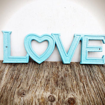 Sparkling Baby Blue Retro Love Sign - Rustic Distressed Shabby Chic Metal