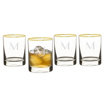 Personalized Gold Rim Whiskey Glasses (Set of 4)