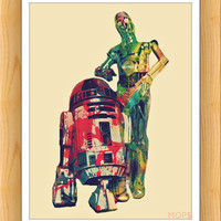 "THE AMBIGUOUSLY DROiD DUO (R2d2 & C3pO of STaR WaRS) 8x10"" Digital Illustration High Gloss Print by MoPS"