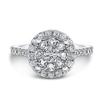 14k White gold diamond cluster engagement ring.
