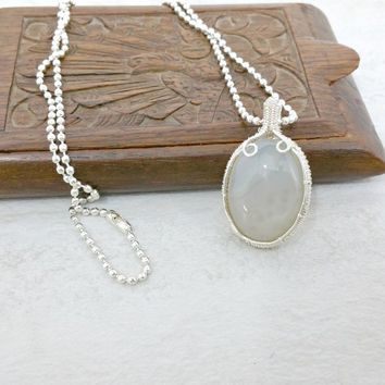 Business Casual Jewelry, Wire Wrapped Necklace, White Agate Jewelry Gift for Her