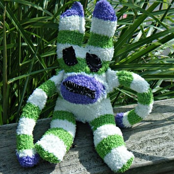 New Handmade Evil Ugly Sock Critter Fuzzy Striped Rabbit. Not your average sock monkey. ON SALE WAS 25.00