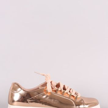 Mirror Metallic Low Top Lace Up Sneaker