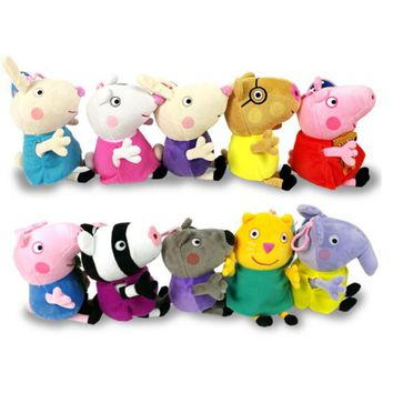 10pcs/lot Genuine Peppa Pig Peppa Geroge Suzy Candy Rebecca Zoe friends 13cm lovely Keychain for backpack kids Christmas gift