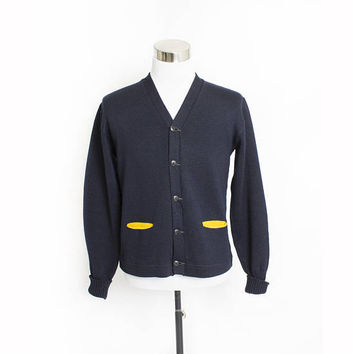 Vintage 1950s Varsity Sweater - Navy Blue Wool Knit Letterman Cardigan - Medium