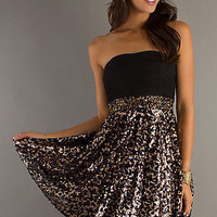 Short Strapless Dress with Sequin Skirt