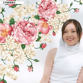 NEW 60 * 90 cm DIY Home Decor Wall Art vinyl removable adhesives peony flower wall decals  SM6