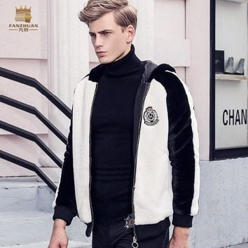 Trendy Free Shipping fanzhuan New 2017 fashion male Men's winter coat velvet black and white color zipper Hoodie Jacket warm 710144 AT_94_13