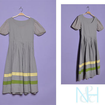 Vintage 1950s Grey Retro Day Dress with Striped Details