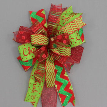 Funky Red Lime Green Chevron Christmas Bow