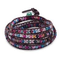 """29"""" + 1"""" Leather Wrap Bracelet with Agate"""